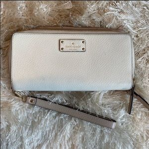 Large Kate Spade Wristlet Wallet - cream colored